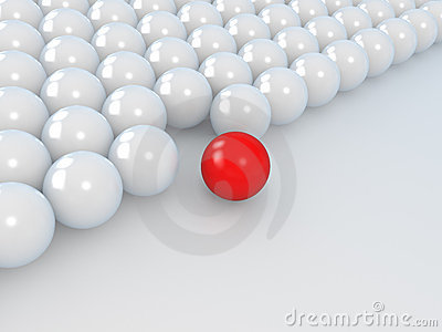 Leadership concept, white and red balls