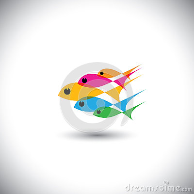 Leadership vector concept - colorful team of fishes united