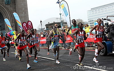 Leading runners in London marathon 2010. Editorial Stock Photo