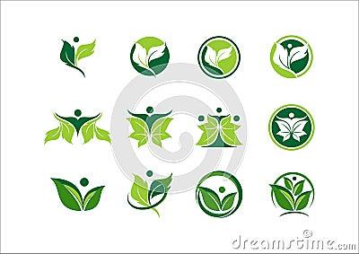 Leaf, ecology, plant, logo, people, wellness, green, nature, symbol, icon