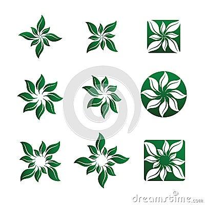 Leaf and Flower Vector Illustrations