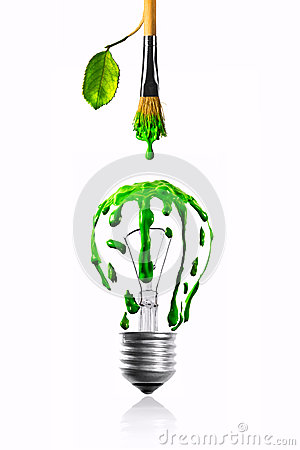 Leaf growing paintbrush dripping color on light bulb