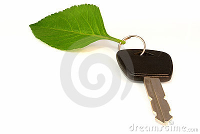 Leaf on key ring of eco friendly car
