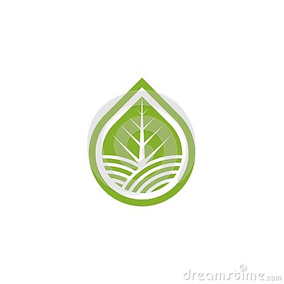 Leaf landscape inside water shape logo. Stock Photo