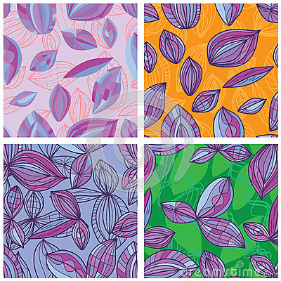 Free Leaf Line Purple Set Seamless Pattern Royalty Free Stock Photography - 78625677