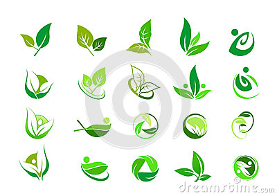 Leaf, logo, organic, wellness, people, plant, ecology, nature design icon set Vector Illustration