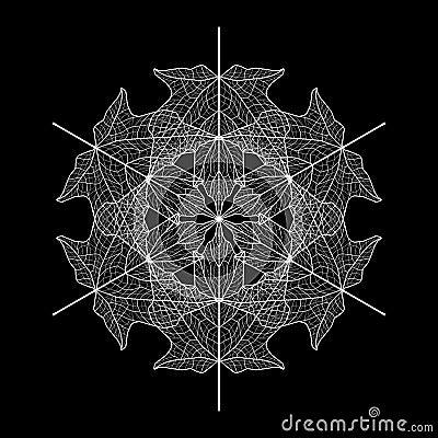 Leaf pattern illustration - white