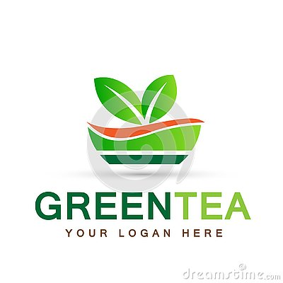 Leaf plant logo ecology people wellness green leaves nature green tea cup symbol icon set of vector designs on white background Cartoon Illustration