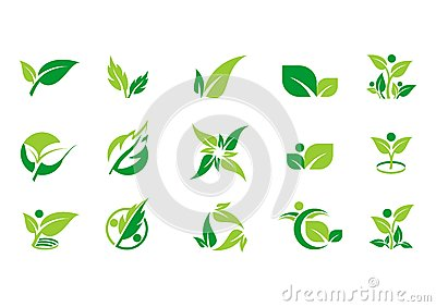 Leaf,plant,logo,ecology,people,wellness,green,leaves,nature symbol icon set of vector designs Vector Illustration