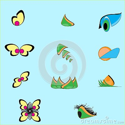 Leaf, plant, logo, ecology, people, wellness, green, leaves, nature symbol icon set of vector designs and cartoon Vector Illustration