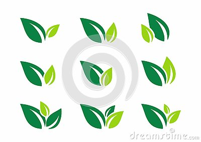 Leaf, plant, logo, ecology, wellness, green, leaves, nature symbol icon set of vector designs Vector Illustration