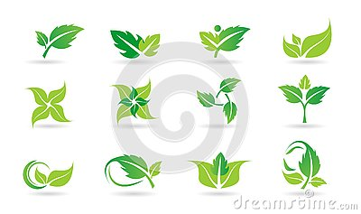 Leaf, logo, plant, ecology, people, wellness, green, leaves, nature symbol icon set of vector icon set Vector Illustration