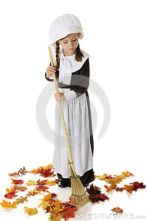Leaf Raking Pilgrim Girl
