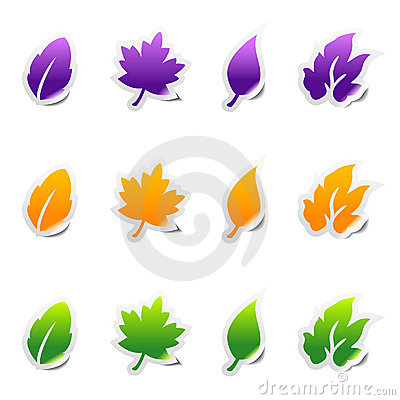 Leaf sticker icons with peeled edge