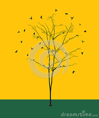 Leafless tree with birds silhouettes