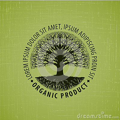 Leafless tree with roots vector logo. Organic product Vector Illustration