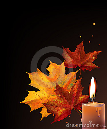 Leafs and candle