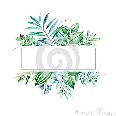Free Leafy Frame Border With Succulent Plants,palm Leaves,branches Royalty Free Stock Images - 122820149