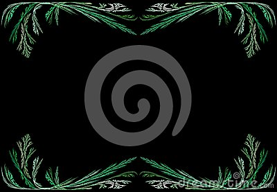 Leafy Green Fractal Frame With Black Copy Space