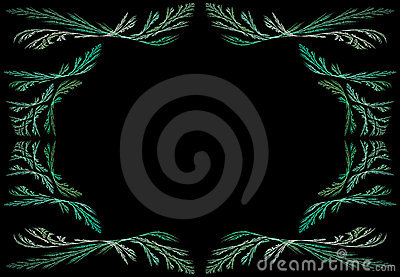 Leafy Teal or Green Fractal Frame With Black Copy
