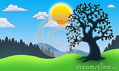 Leafy tree silhouette in landscape
