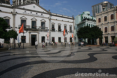 Leal Senado Plaza, Macao Editorial Stock Photo