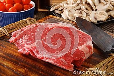 Lean raw rib steak