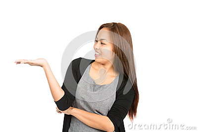 Sensational Hand Flat Out Asian Woman Displaying Leaning Back Stock Photo Hairstyles For Men Maxibearus