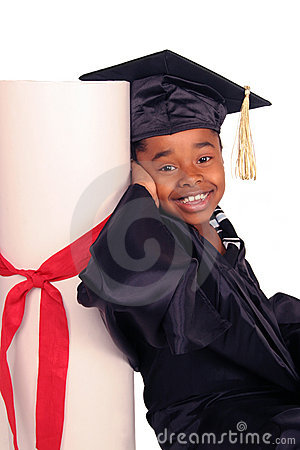 Leaning on her diploma