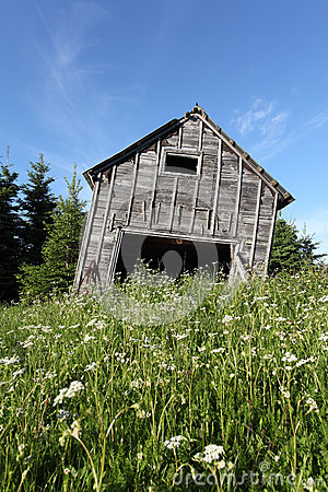 Leaning rustic old barn