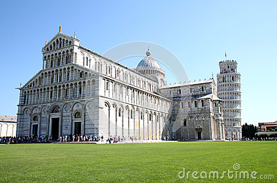 Leaning tower near cathedral in Pisa, Italy Editorial Photo