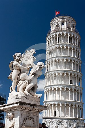Leaning Tower of Pisa with The Fountain with Angels