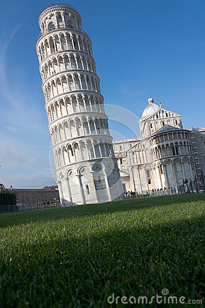 Leaning tower of Pisa with negative space, Italy