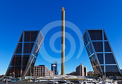Leaning towers in Madrid Spain