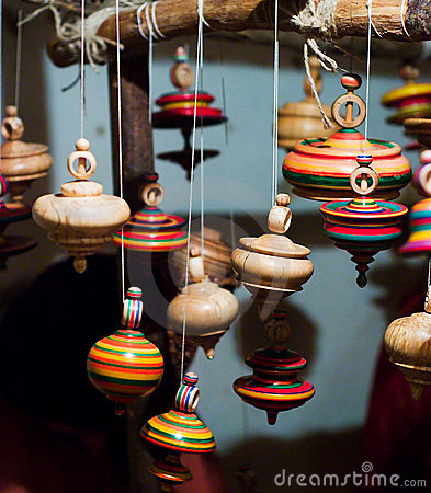 Free Leaning Wood Spinning Tops Royalty Free Stock Images - 3200609