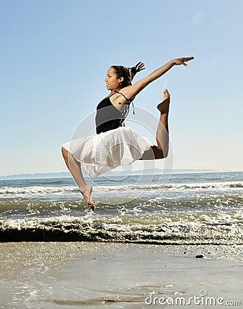 Leap on beach