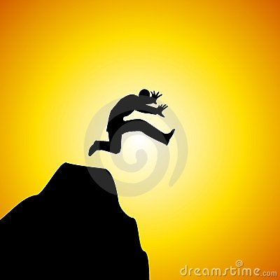 Leap of Faith Man Jumping Off Mountain