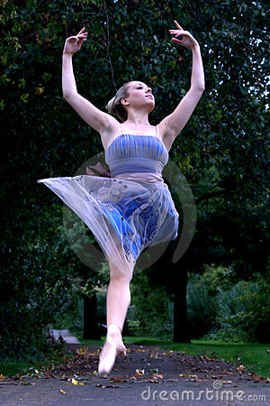 Leaping Ballerina in Park