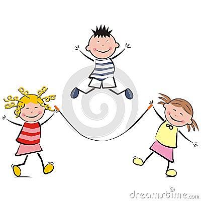 Leaping children Vector Illustration