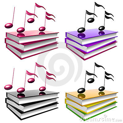 Learn music and song by books icon symbol