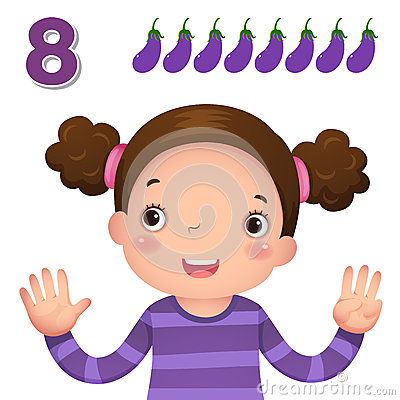 Free Learn Number And Counting With Kid's Hand Showing The Number E Stock Photos - 57810553