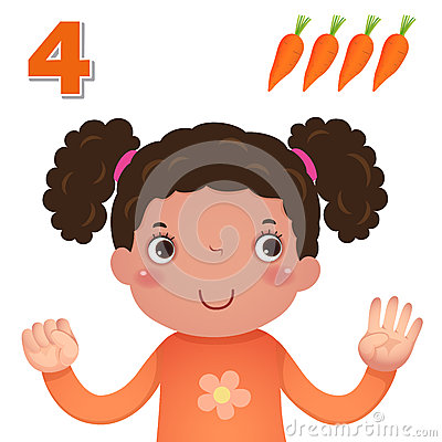 Free Learn Number And Counting With Kid's Hand Showing The Number Four Stock Photos - 57795533