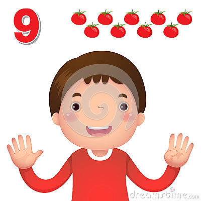 Free Learn Number And Counting With Kid's Hand Showing The Number N Royalty Free Stock Images - 57810869