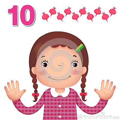 Free Learn Number And Counting With Kid's Hand Showing The Number T Stock Photos - 57810873