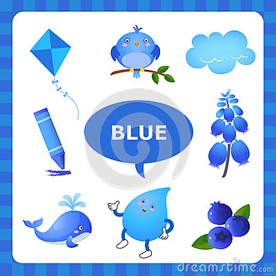Blue colour objects for kids