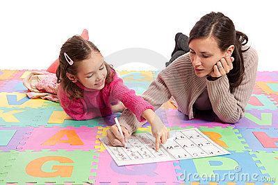 Learning handwriting practice with teacher