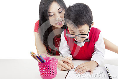 Learning to write with mother