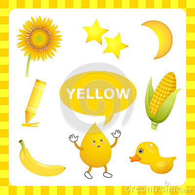 Learning yellow color stock vector image 54849371 for Oggetti di colore giallo