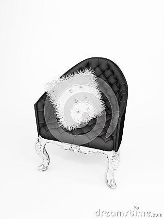 Leather armchair with bushy cushion isolated