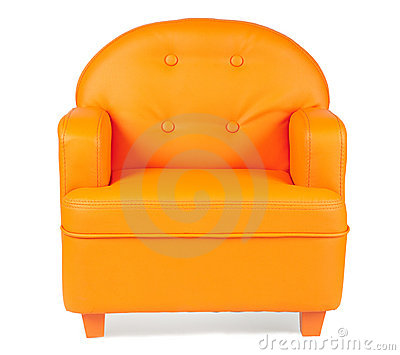 Leather Armchair of orange color